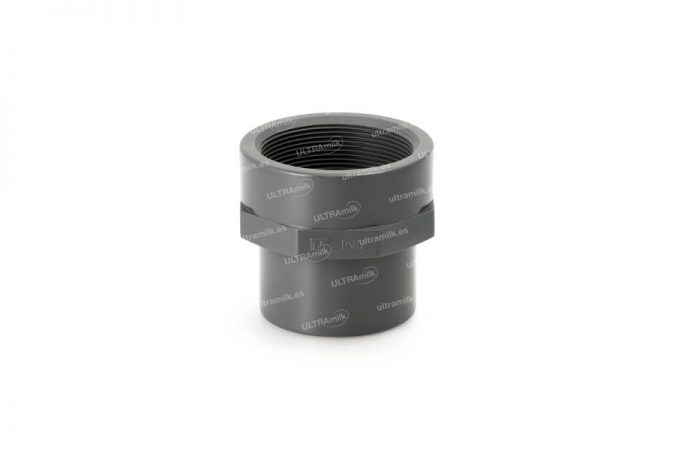 Machón mixto reductor de PVC para tubería de Ø75 y Ø90 mm.