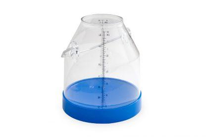 Cubo transparente de 30 litros para equipos de ordeño.