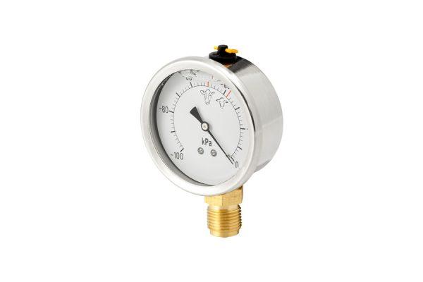 """Vacuómetro inox de glicerina. Esfera Ø80 mm. Conexión ½""""."""