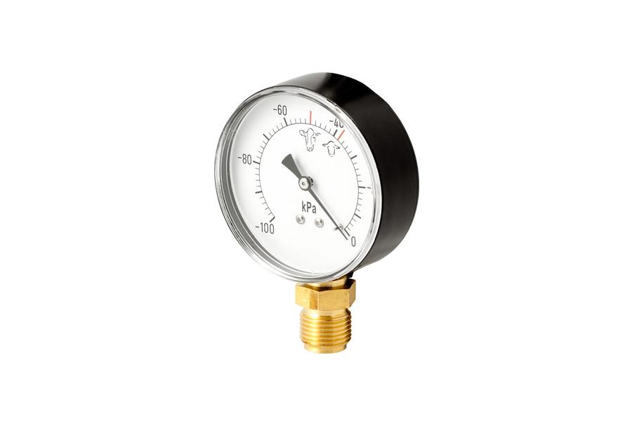 """Vacuómetro de chapa. Esfera Ø80 mm. Conexión ½""""."""