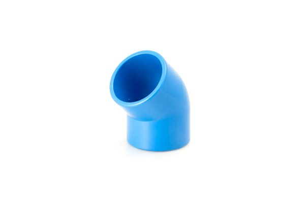 Codo de PVC a 45º. Para tubería Ø75 y Ø90 mm.