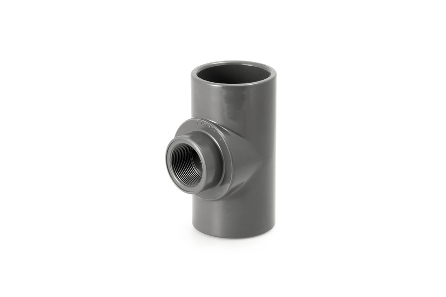 """Unión 'T' mixta de PVC reductora a rosca 1½"""" para tubería de Ø75 y Ø90 mm."""