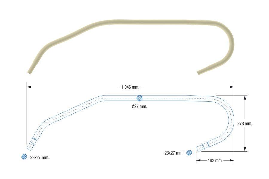 Sacudidor blanco curvo adaptable a Pellenc - Cabezal GR. Referencias compatibles: 8460723, 883938603. Máquinas compatibles: 4560, 4056, 3300, 8590, 4050.