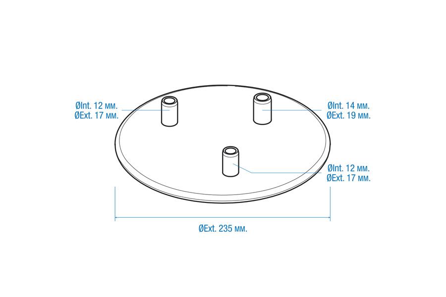 Tapa con 3 salidas para cántara de 40 litros. (ØExterior = 235mm)